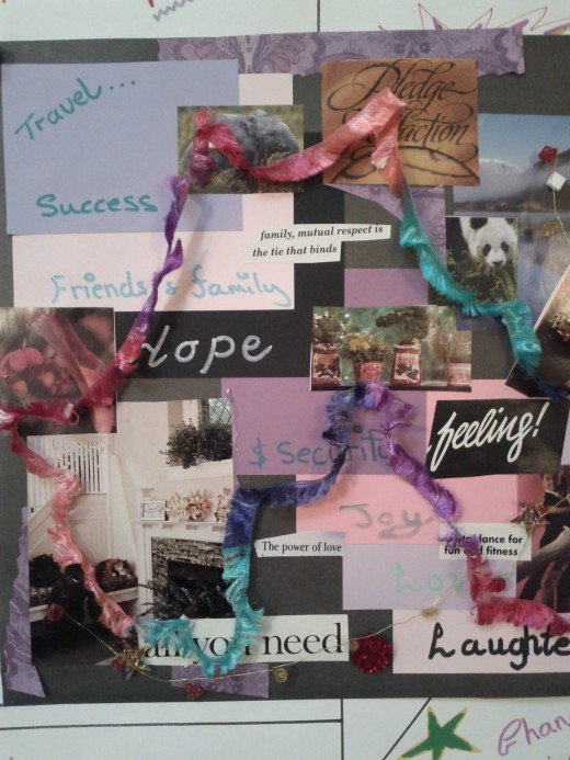 Creating an affirmation collage is a positive visual reminder to engage with yourself and your health