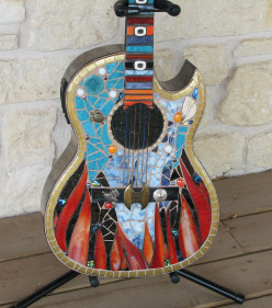 body of finished Conquistador guitar, stained glass, dichroic glass, vintage jewelry, 24K gold plate rims