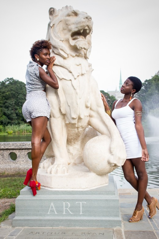 Two models in the park.