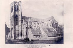 The first photo of the Sint Medarduskerk in Wervik, in the 1890s, by Isidore Blieck, seen yet minus the spire