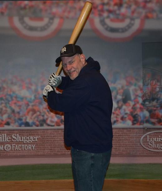 At bat with Mickey Mantle's bat.
