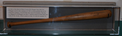 The bat Joe DiMaggio used when he set the record of hitting in 56 straight games.