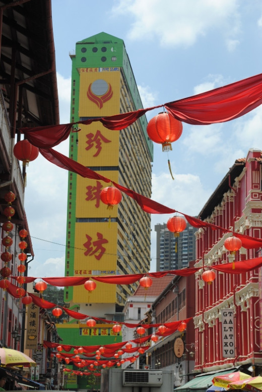 Lanterns decorate the entrance to Singapore's Chinatown