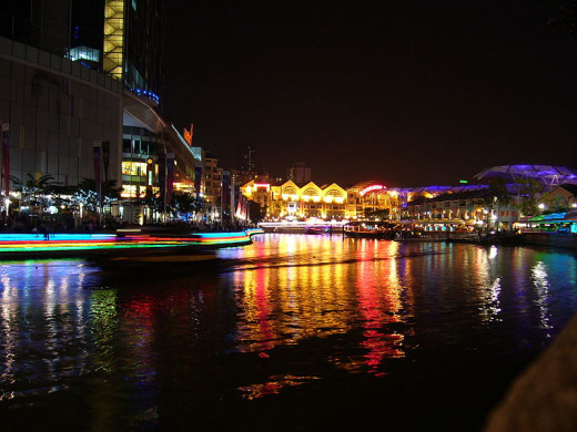 Clarke Quay, Singapore, at night
