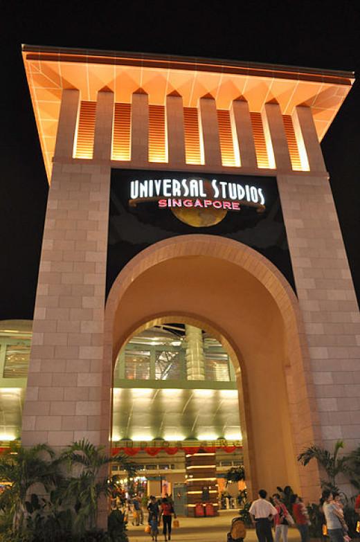 The entrance to Singapore's Universal Studios