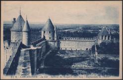 1910 view of the 'Cité de Carcassonne'; interior of the ramparts