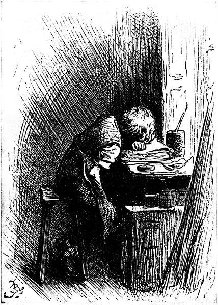 "Charles Dickens is here shown as a boy of twelve years of age, working in a factory. Published in ""The Leisure Hour"" in 1904."