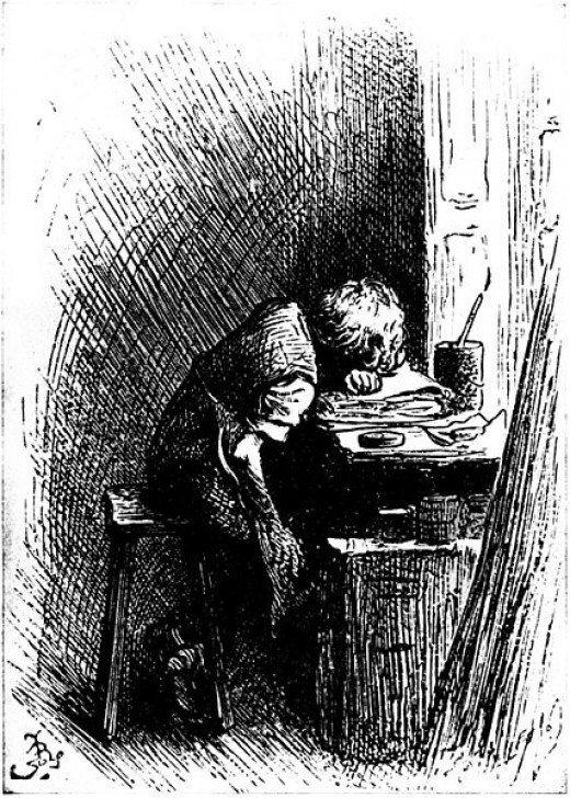 """Charles Dickens is here shown as a boy of twelve years of age, working in a factory. Published in """"The Leisure Hour"""" in 1904."""