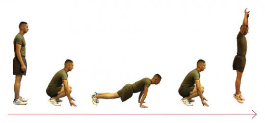 "The basic steps of the ""Burpee"" make for a rather challenging cardio training workout."