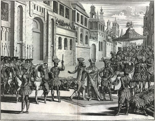 The Spanish 'cementing' an alliance with the Tlaxcalteca.