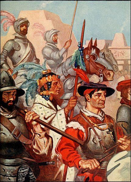 A portrait of the conquistadors entering Tenochtitlan along with the captured Emperor, Montezuma.