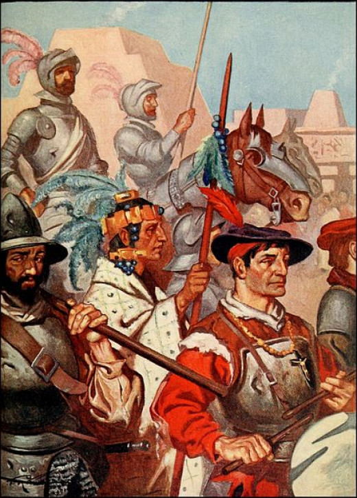 A portrait of the conquistadors entering Tenochtitlan along with the captured Emperor, Montezuma.