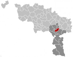 Map location of Lobbes municipality, Hainaut province