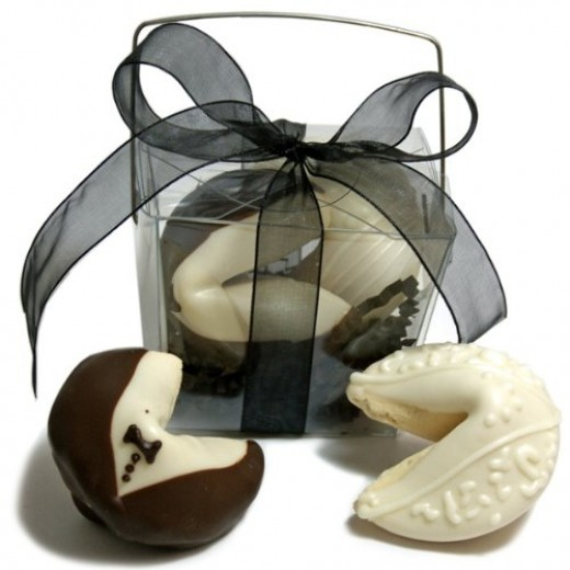 Cute bride and groom edible wedding favors -- in the form of fortune cookies