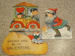 Bright colors, cute children,  Made in USA  Ice skating girl made by the Louis Katz Co of New York, Gas station card folds out to reveal message