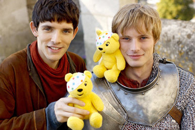 Colin and Bradley promoting the Children in Need charity