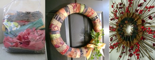 fabric wreaths made from scrap material  (c) purl3agony 2013
