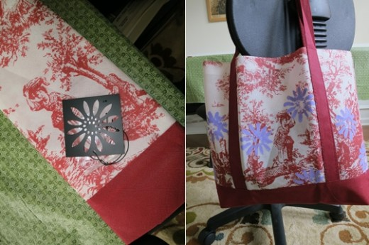 stenciled tote bag  (c) purl3agony 2013