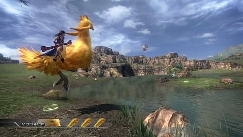Fang riding a chocobo.