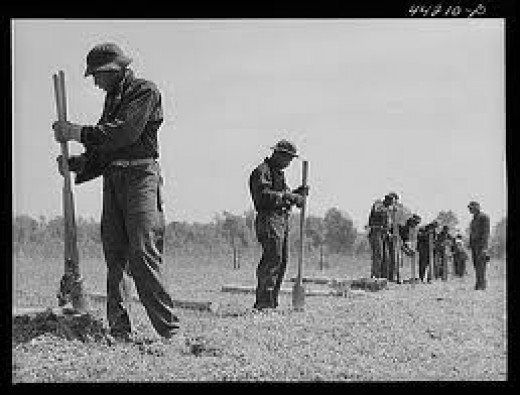 Men working in the Civilian Conservation Corps