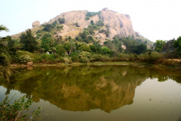 Chandi Hill reflected in a pond
