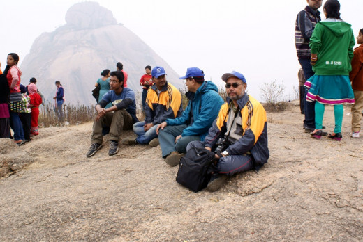 friends on top of chandi Hills