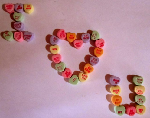 Use conversation hearts to spell out your message.