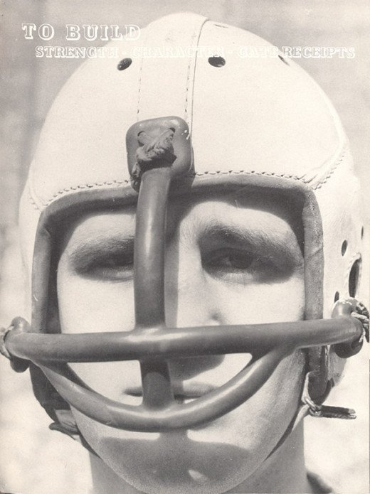 A football facemask from 1937 that would have made the player cross-eyed