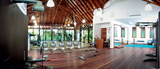 Luxury Fitness room with wood ceilings, wood flooring and a view of a beautiful forest
