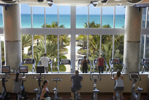 Canyon Ranch Fitness Room Spectacular View of Waterfront