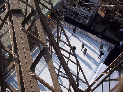 Skating atop the Eiffel Tower.