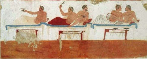 One of a few Greek wall paintings that has survived is the Tomb of the Diver (Italian: Tomba del Tuffatore), c. 475 bce. Paestum, Italy.
