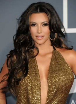 Kim Kardashian showing off wavy locks!