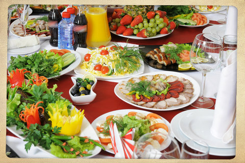 Enjoy a relaxing luncheon with light salads and other tasty morsels