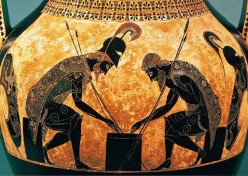 "Black-figure Amphora by Exekias c.530 bce. 24"" high.   Vatican Museum, Rome. Achilles and Ajax playing dice."