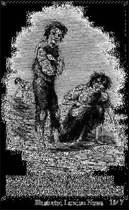 An engraving showing boys scavenging for scraps of food.