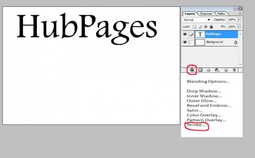 Type text, click layer style and select strokes from drop down menu.