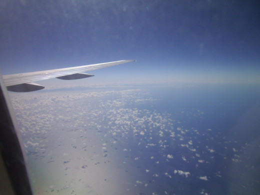 A view from the wing of my flight to Aruba--somewhere over the Caribbean.