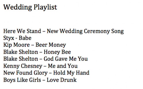 Song list for our DJ, with more to add.