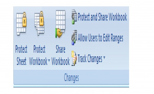 How to access the Protect Workbook and Share Workbook buttons in Excel 2007.
