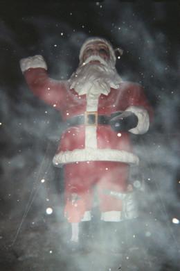 A blustery night visiting Santa's mailbox
