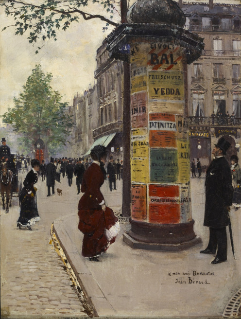 Paris Kiosk, by Jean Béraud, intersection of Rue Scribe and Boulevard des Capucines, circa 1880 - 1884
