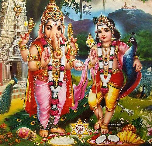 Lord Ganesha and Lord Murugan