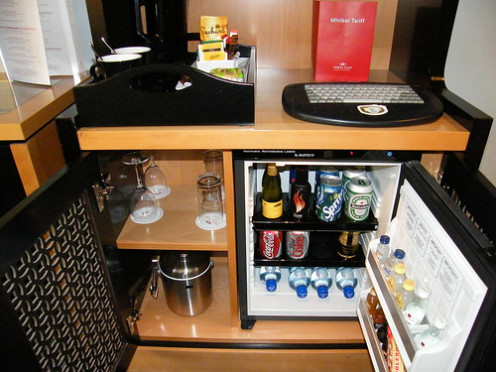 You won't have to wander to the kitchen if your room has its own coffee maker and mini fridge!