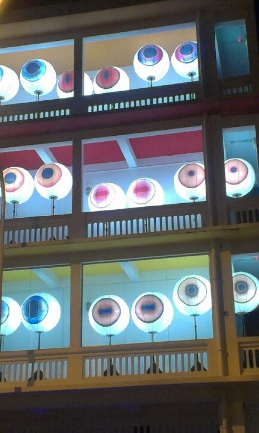 """Eyeball"" display at Singapore Art Museum at 8Q during Night Festival 2012"