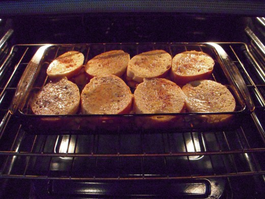Place pan in oven to cook French toast.
