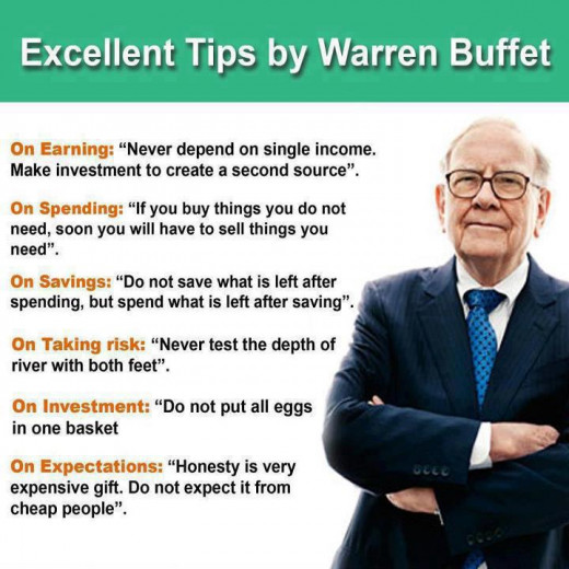 Great advice from Warren Buffett!  (Sorry, but the person who compiled this piece did not spell Mr. Buffett's last name correctly.)