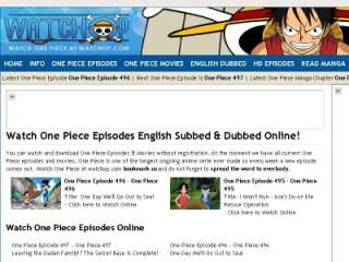 A screenshot of watchop.com, the best site to watch One Piece.