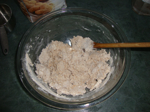 Mixing ingredients for tortillas.