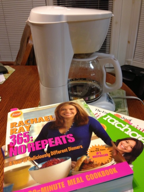 A Coffee Pot and Cookbooks